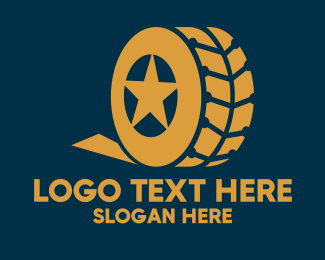Service Center - Gold Star Car Vehicle Tire logo design