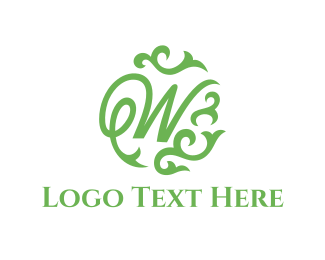 Interior Decoration - Green Letter W logo design
