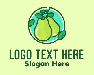 Guacamole - Fresh Pear Fruit  logo design