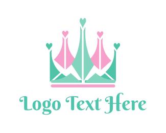 Princess - Heart Crown logo design