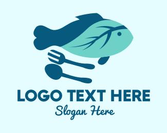 Fork - Leaf Fish logo design