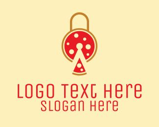 Pepperoni Pizza - Pizza Slice Lock  logo design
