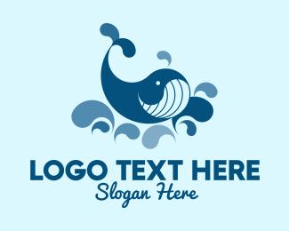 Swimming - Swimming Blue Whale logo design