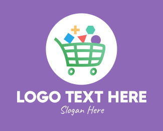 Online Grocery - Geometric Shopping Cart logo design