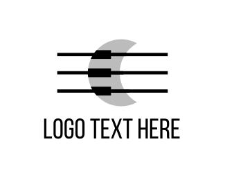Harp - Musical Moon logo design
