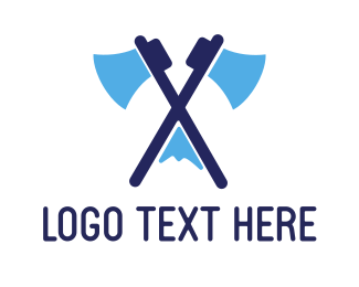 Hatchet - Blue Mount Axe logo design