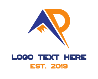 Visionary - Mountain Letter AP logo design