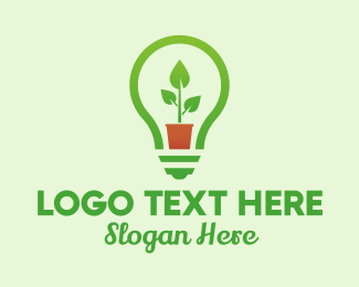 Sustainable Energy - Potted Plant Light Bulb  logo design