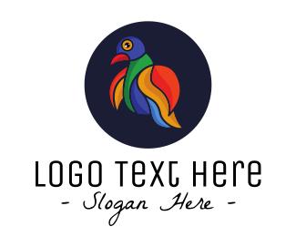 Natural Reserve - Colorful Love Bird Outline logo design