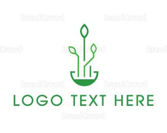 Research - Techy Leaf Circuitry logo design