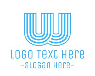 Striped - Blue Striped W logo design