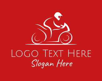 Biking - White Motorcycle Rider logo design