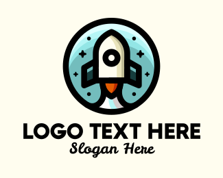 Space - Space Rocket Cartoon logo design