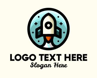 Space - Space Rocket Cartoon logo design