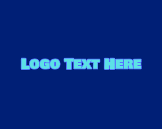 Cartoonish - Blue Childish Wordmark logo design