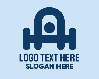 Weightlifter - Abstract Gym Weightlifter logo design
