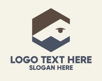 Haircutter - Hexagon Man Face Mask logo design