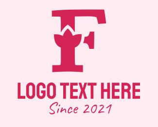 Alphabet - Pink Letter F Flower logo design