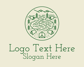 Hut - Green Lake Campsite logo design