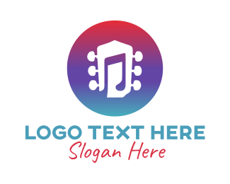 Purple Note - Guitar Music  logo design