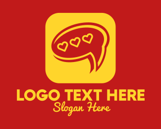 Hearts - Message Chat Heart App logo design