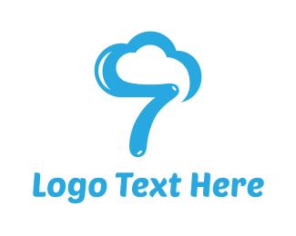 Number 7 - Cloud Number 7 logo design