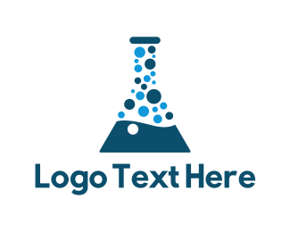Beaker - Laboratory Test Tube Bubble logo design