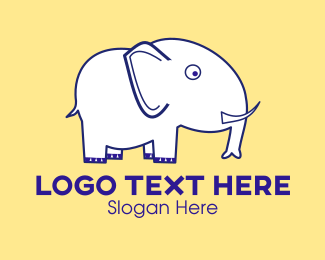 Tusks - White Elephant Cartoon  logo design