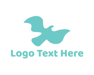 Kingfisher - Soft Flying Bird logo design