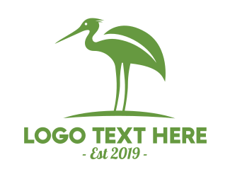 Ecological - Green Stork logo design