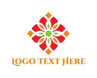 Hindu - Diamond Flower logo design