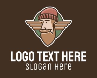 Skater Boy - Hipster Lumberjack Emblem  logo design