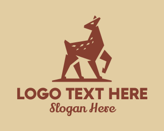 Moose Antlers - Brown Forest Deer logo design