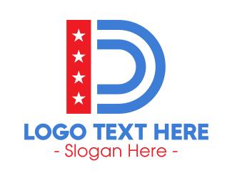 Democrat - USA American Letter D  logo design