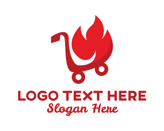 Push Cart - Fire Shopping Cart  logo design