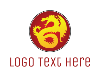 Dinosaur - Golden Dragon logo design