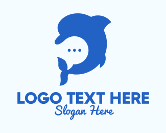 Marine Biology - Blue Dolphin Chat logo design