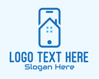 Blue Phone - Blue Mobile Phone Home App logo design