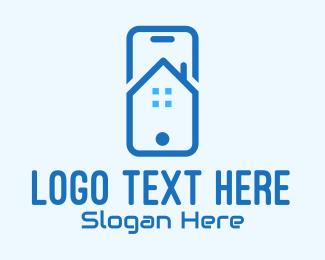 Mobile App - Blue Mobile Phone Home App logo design