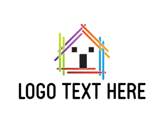Services Colorful Stick House logo design