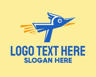 Blue Bird - Rocket Blue Bird logo design