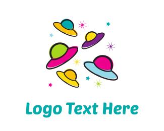 Galactic - Colorful UFOs logo design
