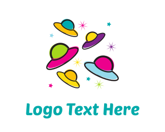 Extraterrestrial - Colorful UFOs logo design