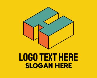 Pop Art - 3D Pixel Letter H logo design