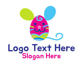 Party Game - Easter Mouse Egg Kids logo design