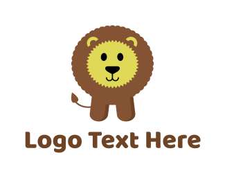 Brown Baby - Cute Fluffy Kids Lion logo design
