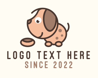 Dog Adoption - Cute Eating Puppy logo design