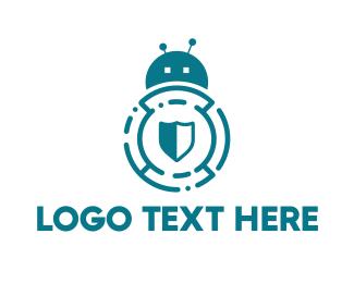 Artificial Intelligence - Bug Bot Shield logo design