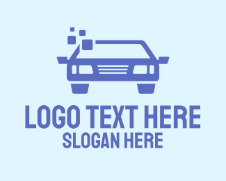 Car Shop - Blue Car Pixel logo design