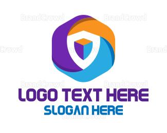 Advertising - Colorful Hexagon Shield logo design
